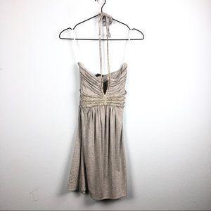Sky • Grey Crystal Embellished Halter Mini Dress